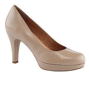 Nurture Kira Beige Leather Round Toe Pump Heels